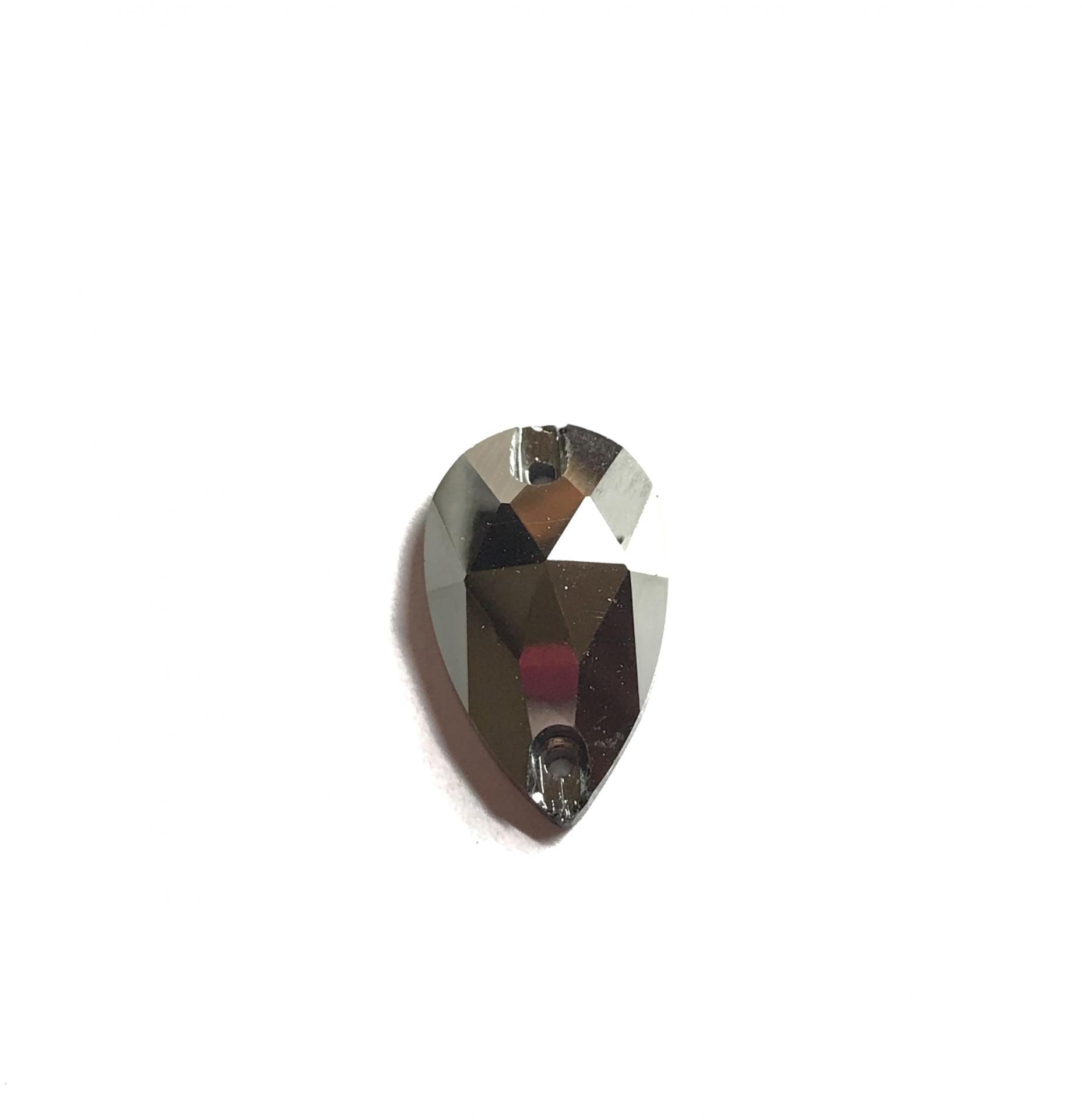 Pierre a coudre en verre cristal metal silver 10 18 8065