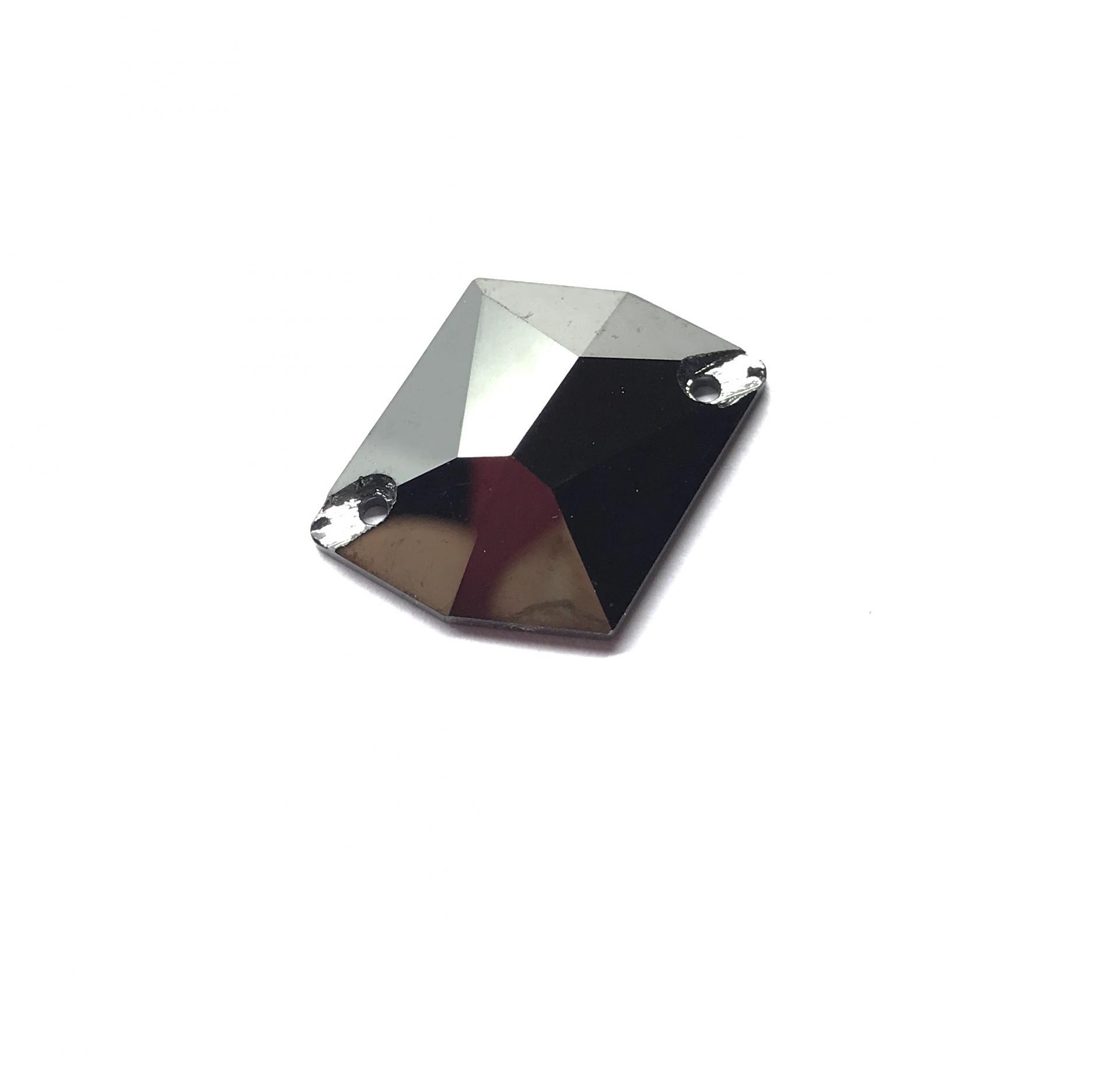 Pierre a coudre en verre cristal metal silver 21 26 8070