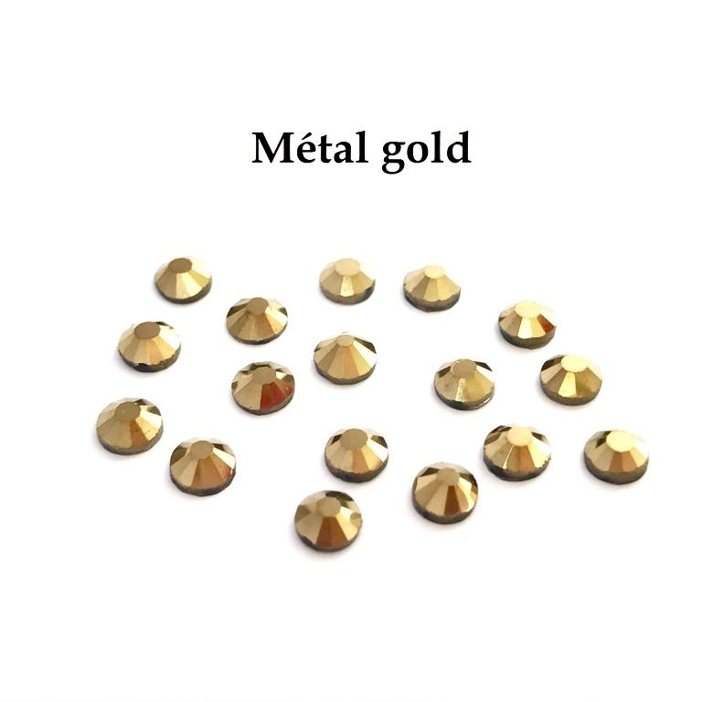 Strass hotfix thermocollant ss10 metal gold 3mm