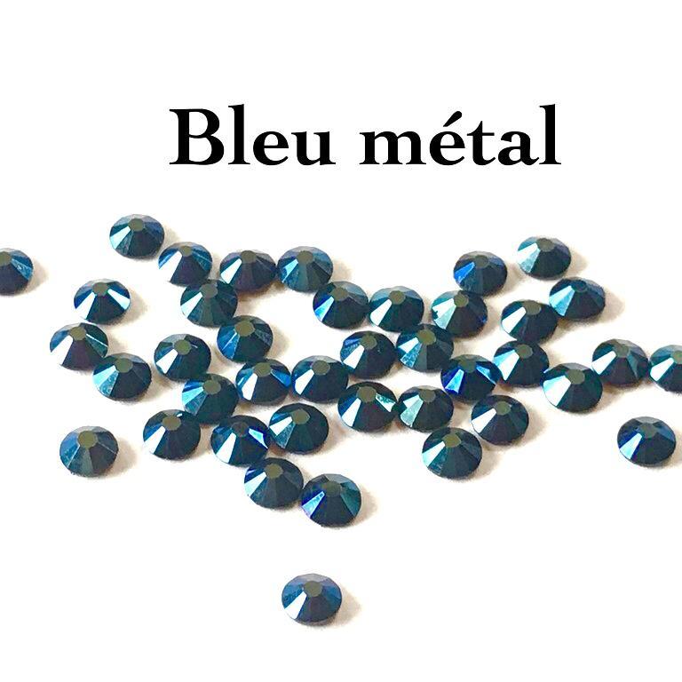 Strass hotfix thermocollant ss20 5mm bleu metal