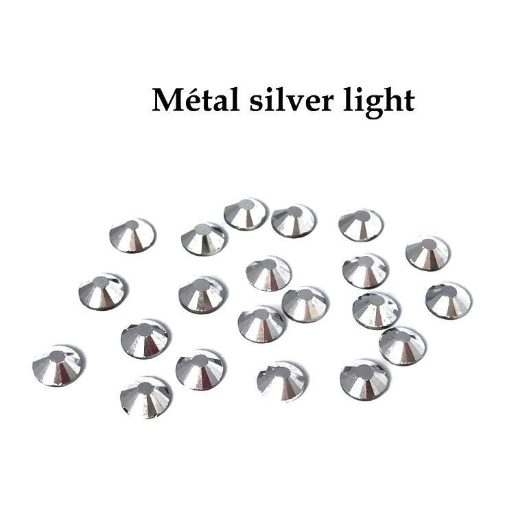 Strass hotfix thermocollant ss20 5mm metal silver light